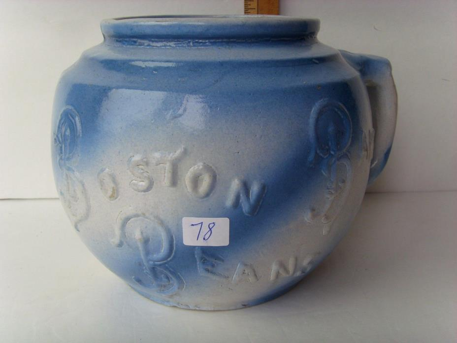 "Antique Blue Decorated Pottery Bean Pot 6¾"" ~1880-1900 35/78"