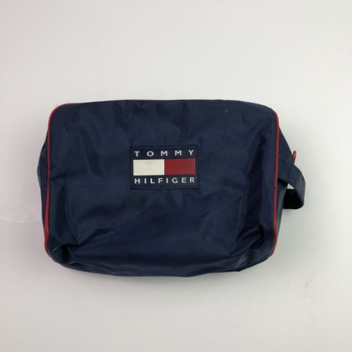 VTG TOMMY HILFIGER Travel Toiletry Cosmetic Shaving Bag Pouch Blue Flag