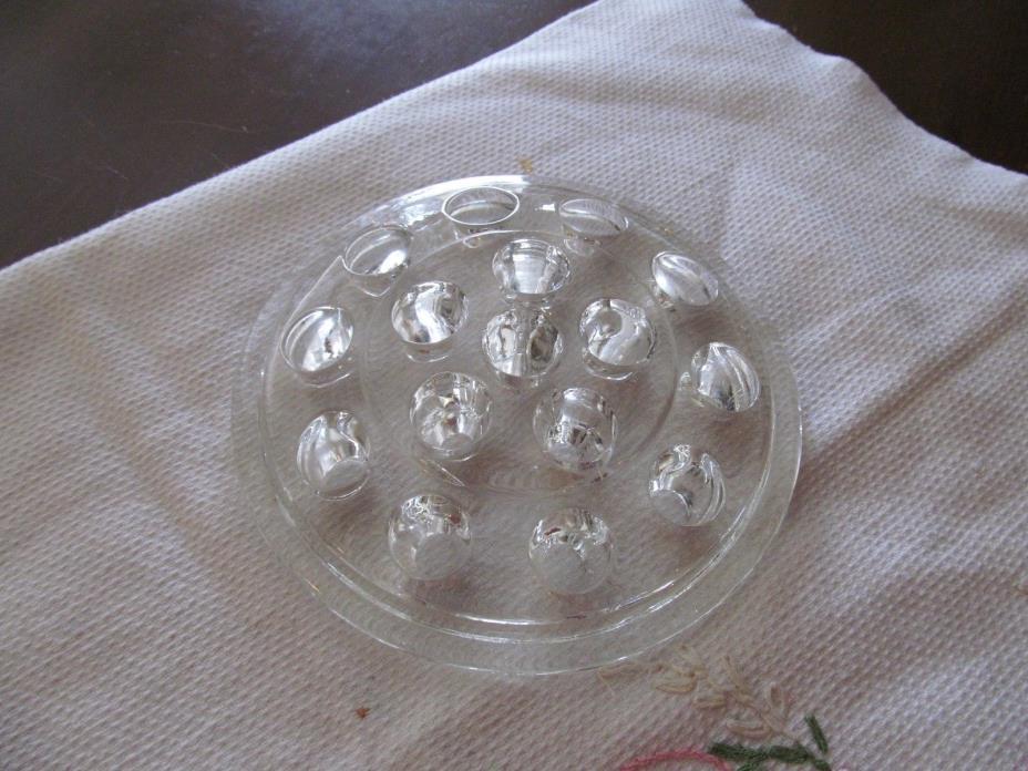 Vintage Antique Pressed glass Flower Frog Nice!!