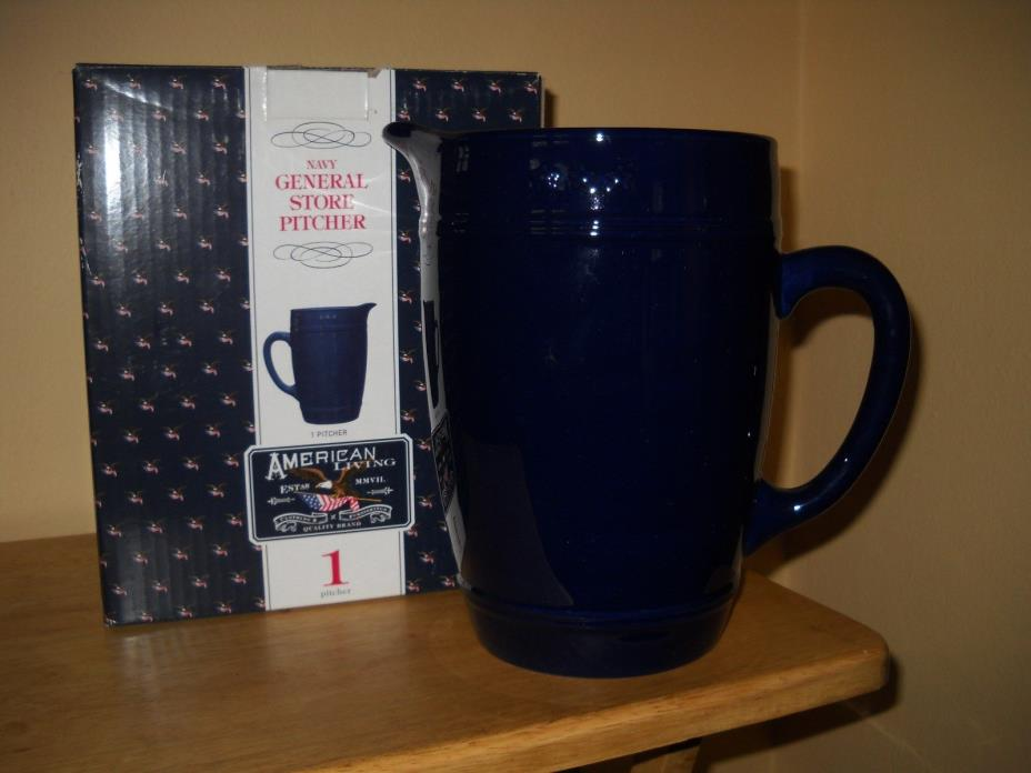 BLUE IRONSTONE PITCHER FARM HOUSE COUNTRY KITCHEN STYLE 3 1/2 QT