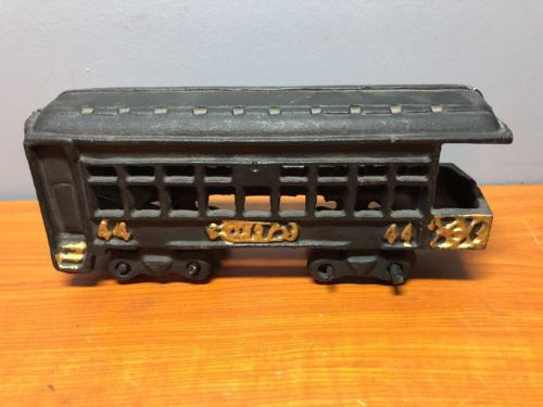 Vintage Cast Iron Train Passenger Car Black Gold 44