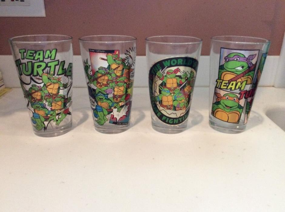 rare!  set of 4 heavy drinking glasses: TMNT Team Turtles
