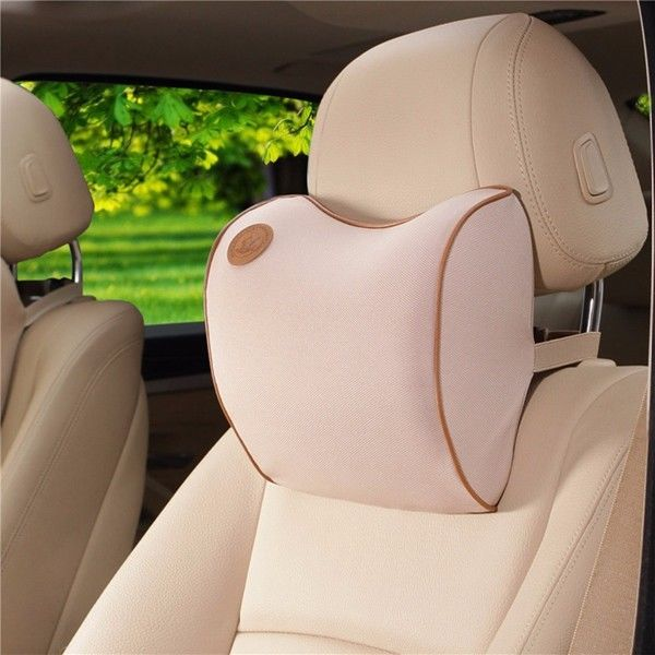 Neck Support Car Seat Head Rest Memory Foam Pillow Cushion Neck Rest Beige
