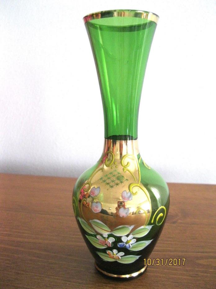 Bohemian Czech Emerald Green Glass Vase Gold Gilded Design/Enamel Flowers