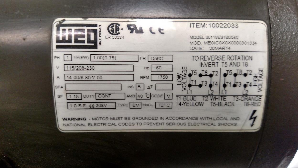 WEG Electrical Motor 10022033 1 HP 1750RPM