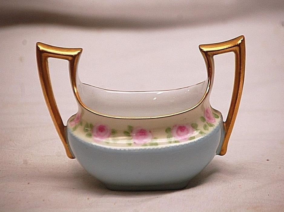 Old Vintage Favorite Bavaria Open Sugar Bowl Blue w Pink Roses Gold Trim Signed