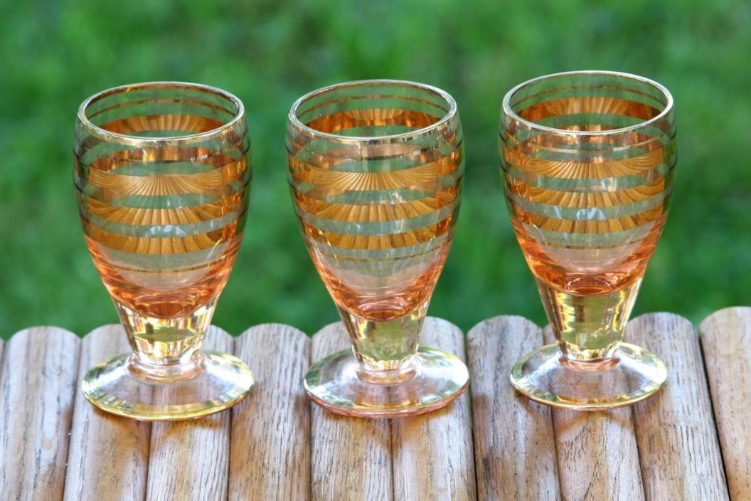 3 Vintage Pink Glass Gold Stripes Mid Century Czech Cordial Shot Glasses