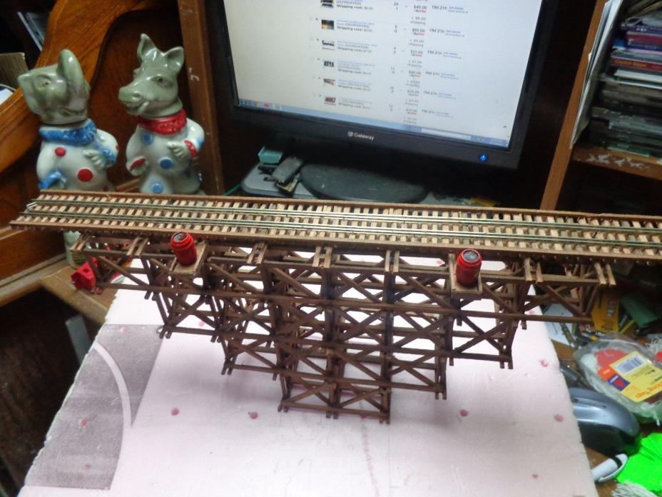 Sccratchbuilt wood model railroad trestle bridge .code 100 rail #753