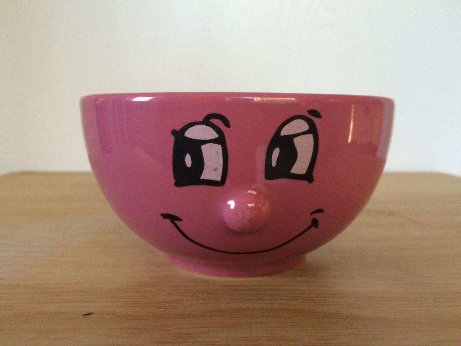 Funny Happy Face Pink Bowl 3D Protruding Nose Emoticon Aris
