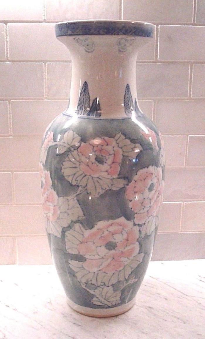 Large Pastel Green & Pink Floral Design, Blue Accents Vase - Excellent!!