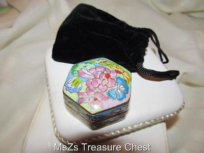 Metal Cloisonne Flower Hexagon Shaped Trinket / Pill Box  ** NEW w Gift Box **