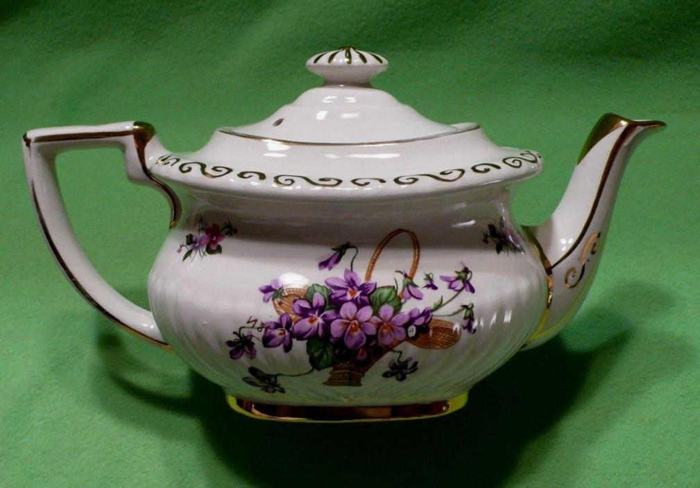 Vintage GEORGIAN GIBSONS Stafforshire England teapot with baskets of VIOLETS.