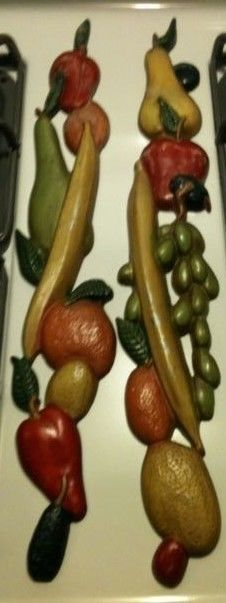 Vintage Midwest Wall Decor Pair of Metal Fruit Wall Hangings