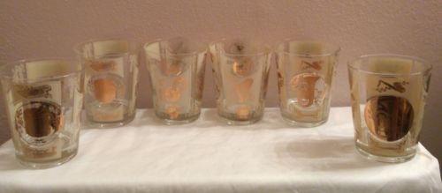 Set of 6 Old Fashioned Bar Glasses Mid Century With Gold Musical Instrumen. Rare