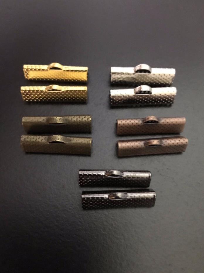 Ribbon Crimp Ends Mixed Metals Hammered 22mm 10 pcs