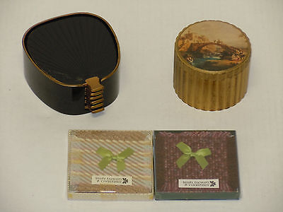 VINTAGE COASTERS JAPAN FAN BLACK LACQUER ITALY TOLE FLORENTINE IRISH TWEED NICE