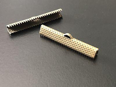 Ribbon Crimp Ends Brass Hammered 35mm 10 pcs