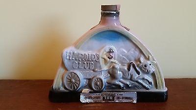 """1969 Jim Beam """"Harolds Club"""" Miller Whiskey Decanter / Bottle Empty"""