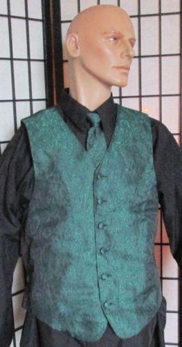 MED Men's Green w/ Blk Prom Wedding Fullback Tuxedo Vest Windsor Tie Bill Blass