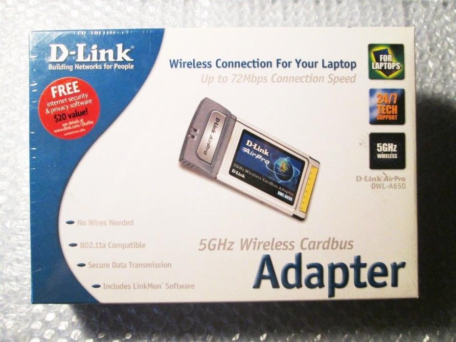 D-link AirPro DWL-A650 5 GHz Wireless Cardbus Adapter for Laptops NEW in BOX