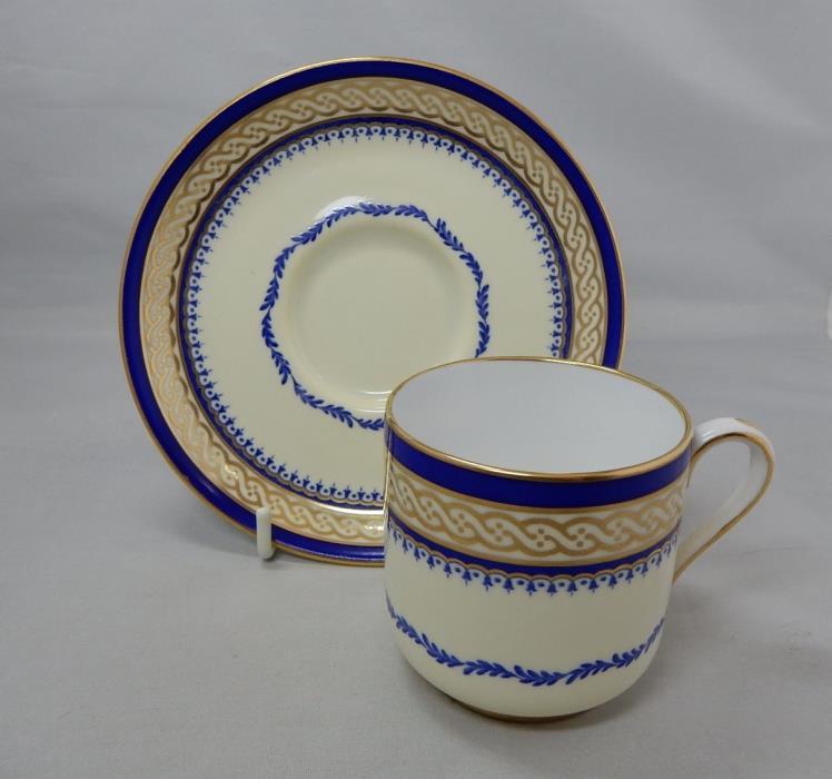 SPODE for TIFFANY Cobalt Blue & Gold Demitasse Set Cup & Saucer Y2616