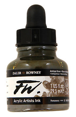 DALER-ROWNEY 160029222 FW FW LIQUID ARTISTS' ACRYLIC INK 1 OZ. ANTELOPE BROWN