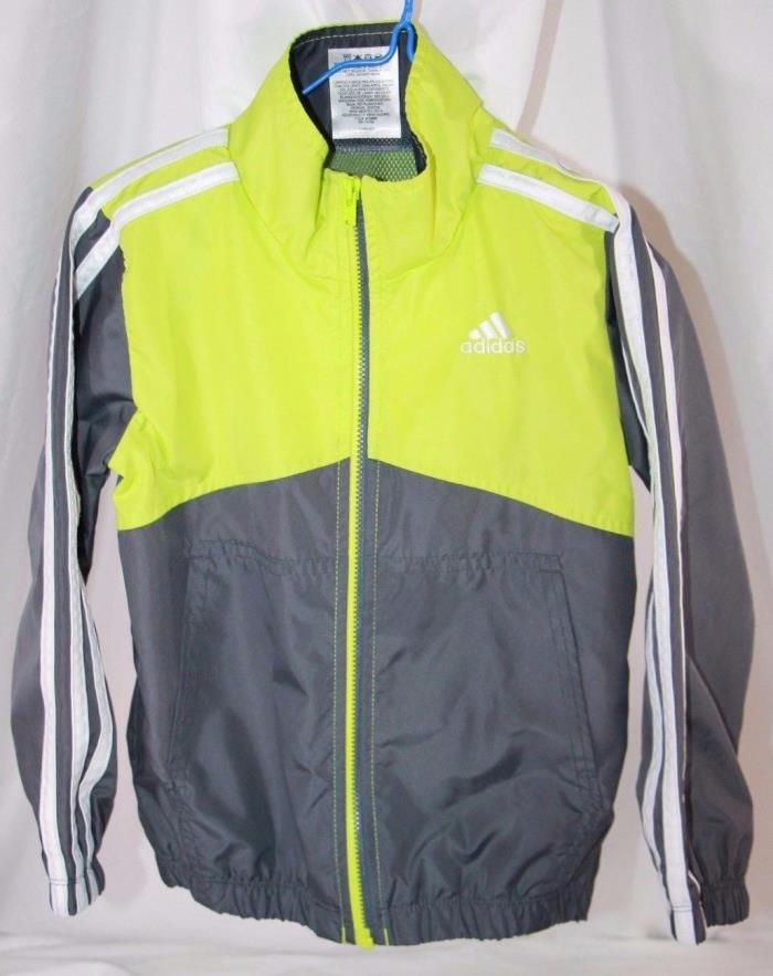 Adidas Green Gray White Jacket Toddler Size 3 Zipper 2 Front Pockets Sports