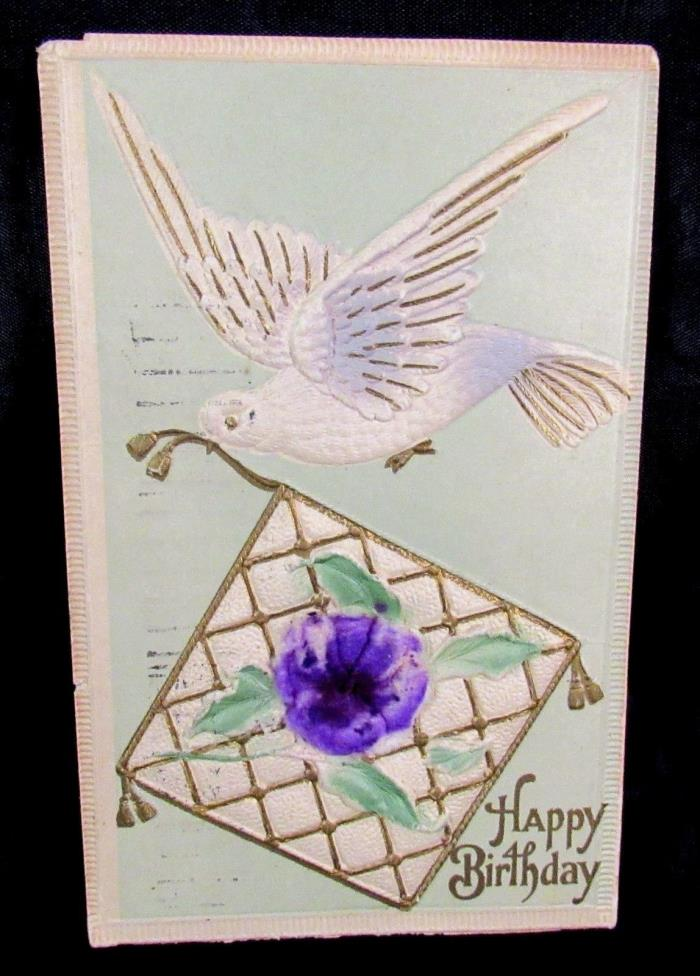 Vintage Embossed Postcard Happy Birthday Posted 1913 Dove Lavender Flock Flower