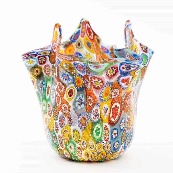 Murano Millefiori Venetian Art Glass Vase Fazzoletto Handkerchief Style 4.5