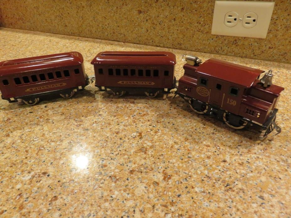 RESTORED LIONEL  #160 SET OF ENGINE AND TWO CARS.1917-23
