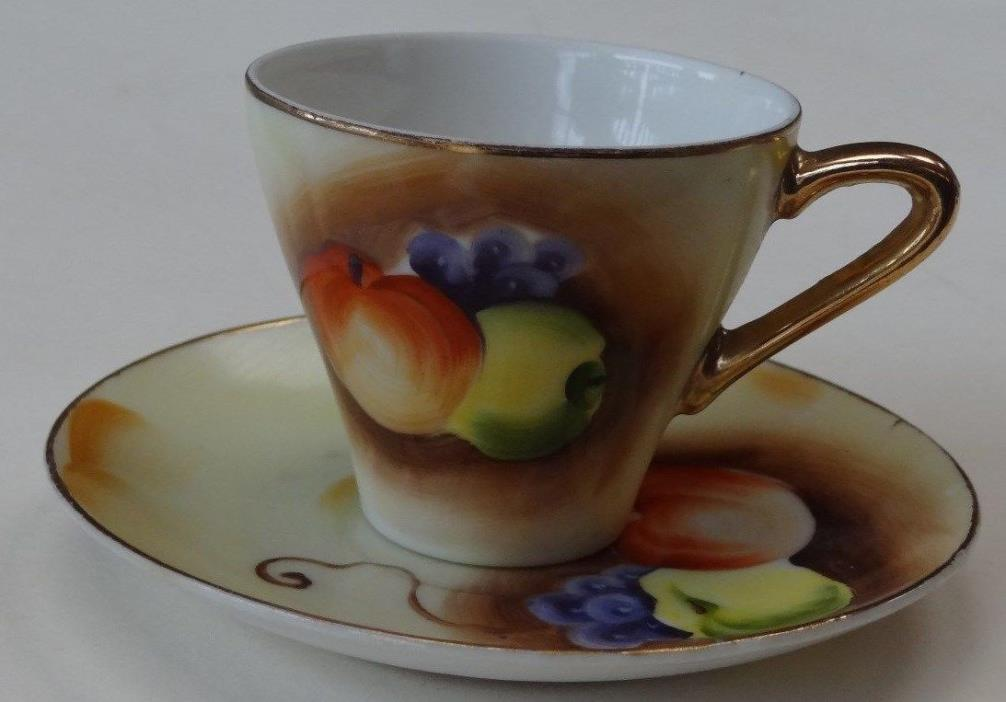 Vintage Brinn's Pittsburgh PA Demitasse Cup & Saucer with Fruit design