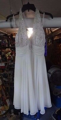 B^c Niki Livas Short White Informal Wedding Bridesmaid Prom Dress Beaded/Jewel 8