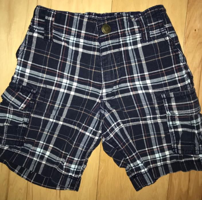 CARTER'S BABY BOYS NAVY BLUE PLAID CARGO SHORTS 2T EXCELLENT CONDITION LD 6