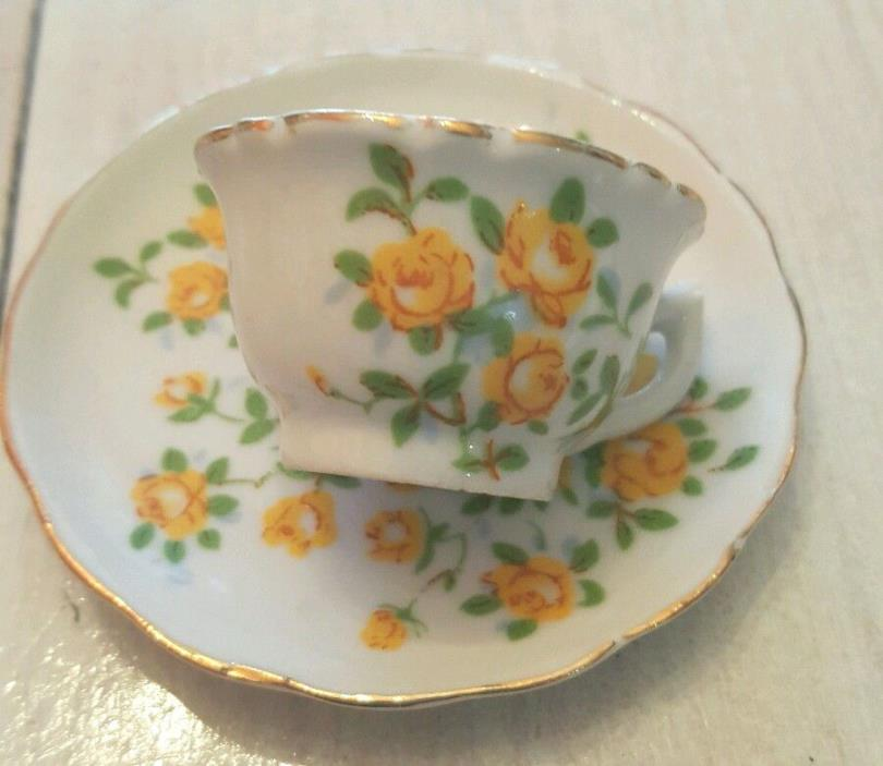 Enesco yellow roses tiny tea espresso cup & saucer - Child's?