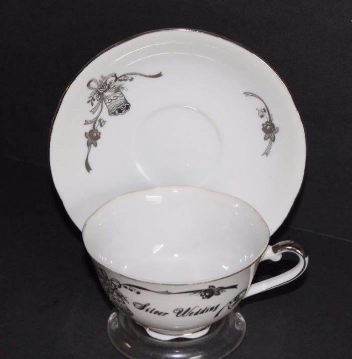 Lefton China Tea Cup and Saucer Silver Anniversary #03182