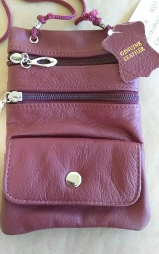 Brand New Genuine Leather PASSPORT ID Documents Holder Neck Travel Pouch Bag