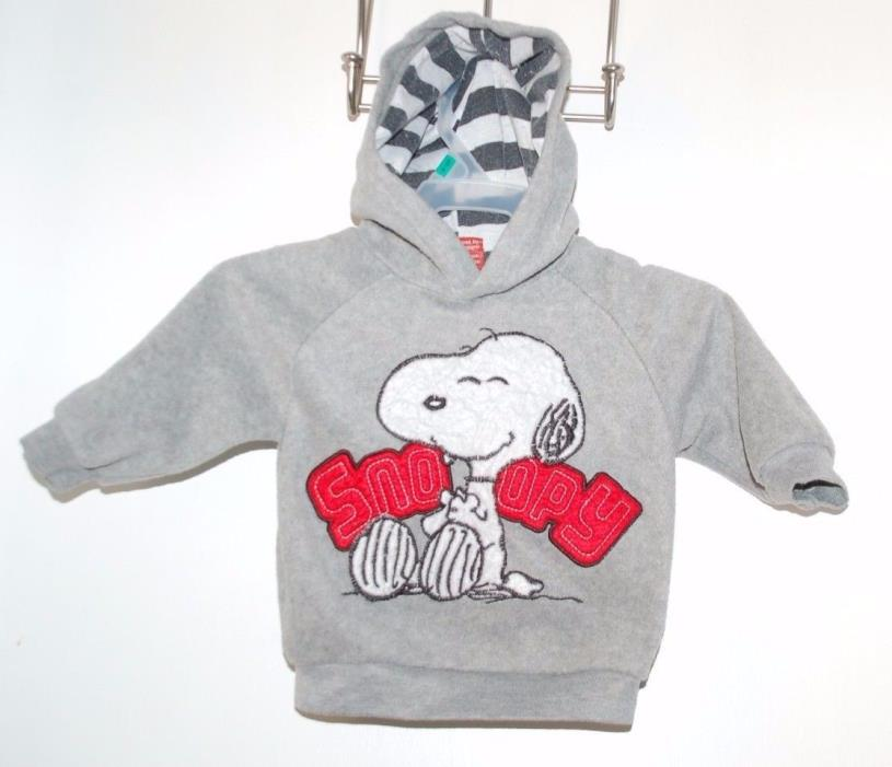 Baby Infant 12 Months Gray Fleece Snoopy Hoodie Sweatshirt