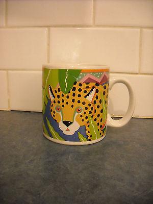VINTAGE COFFEE TEA MUG LEOPARD STALKING JUNGLE LRG COLOURFUL PELZMAN VANDOR 1990