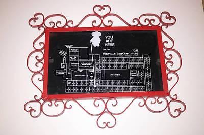 RARE VTG Sheraton Inn-Northwest MN Minnesota Floor Plan in Red Cast Iron Frame