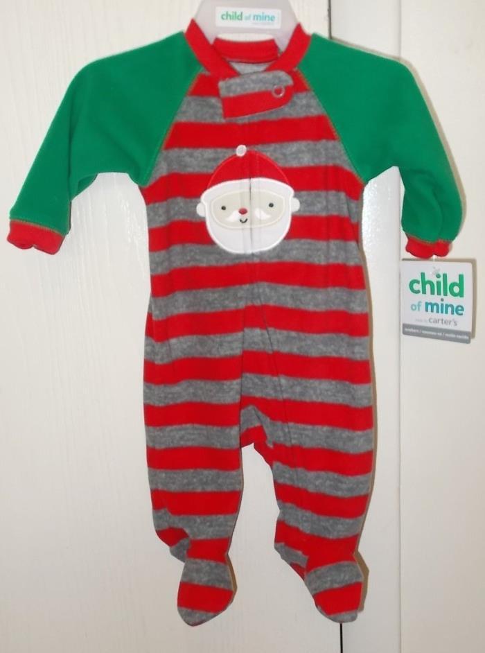 Boys Newborn Size Carter's Red & Green Santa Clause Fleece Zip-Up Sleeper NWT