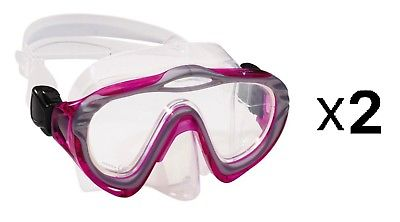 Speedo Jr Dive Swim Swimming Adventure Hyperdeep Mask Goggles Fuchsia (2-Pack)
