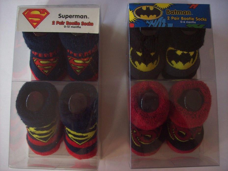 Batman Superman Bootie Socks 2 Pair ABG Baby Symbols Saying Signature 0-6 0-12 M