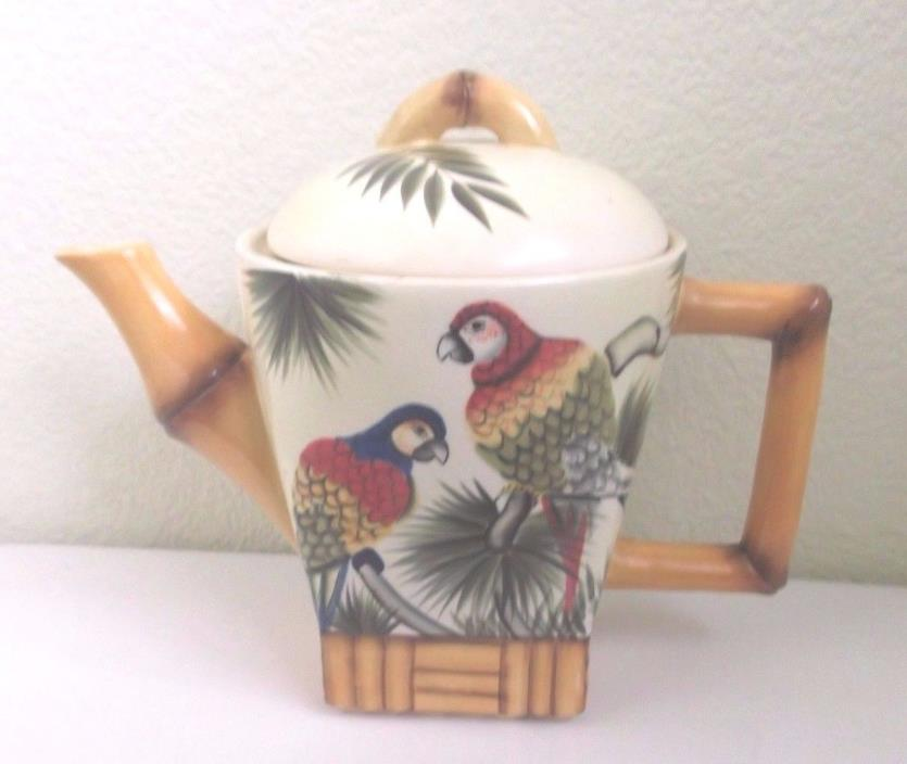 Pacific Rim Ceramic Parrot Bamboo Teapot - Hand Painted Exclusive