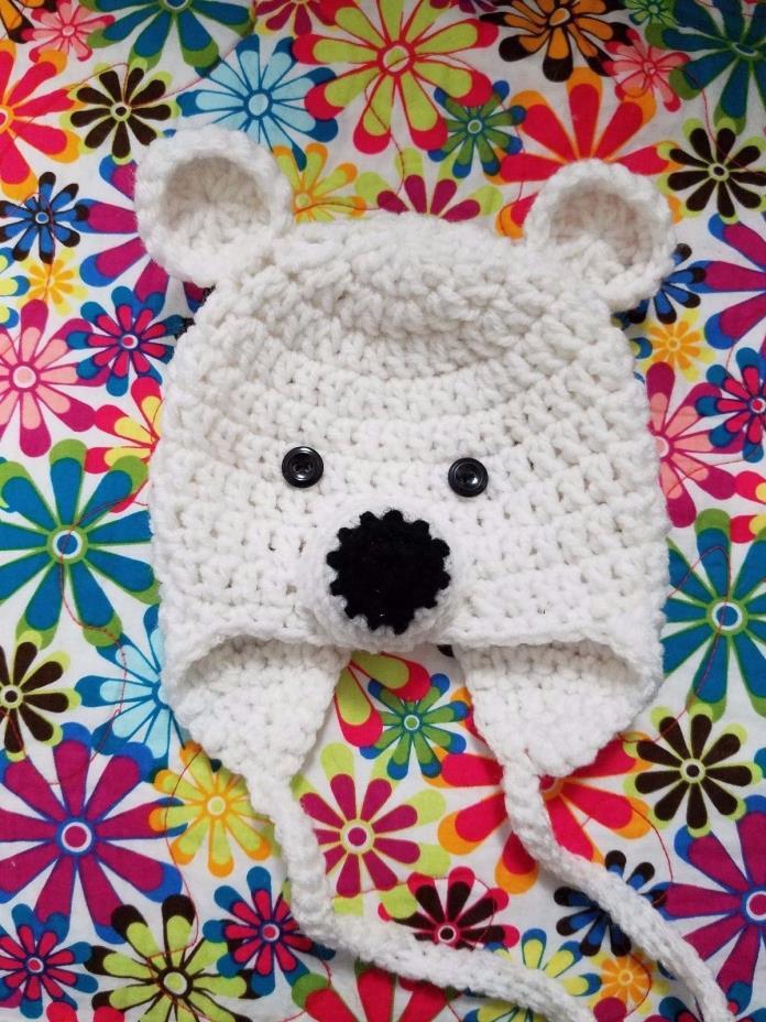 Handmade Crochet Polar Bear Hat Newborn to 3 months with Earflaps Baby Shower