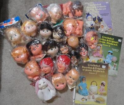 DOLLS&CROCHET PATTERNS - Large Assortment of Dolls Heads & 3 J. Abularach Books