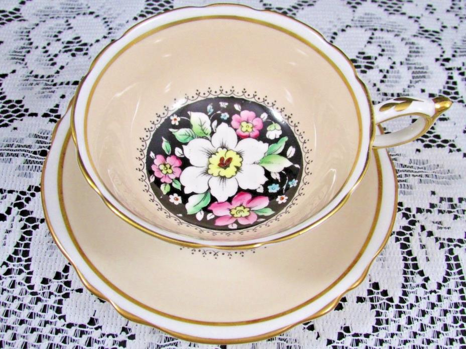 PARAGON CREAMY BEIGE ENAMEL BEADED FLORAL BLACK TEA CUP AND SAUCER