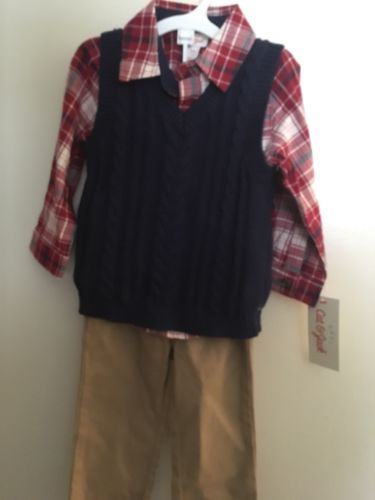 12M Baby Boy Blue Sweater With Red Flannel And Khakis NWT