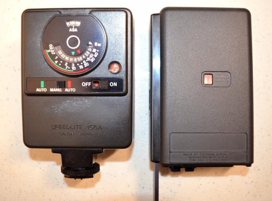 Lot of 2 Vintage Kodak Ektron Model A Flash / Canon Speedlite 155A