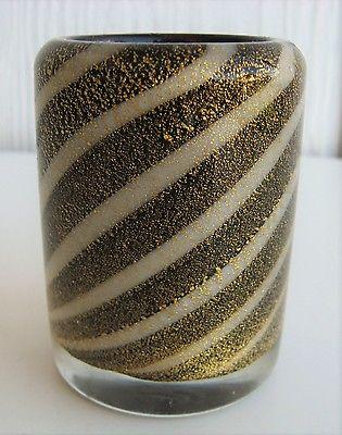 Vintage Murano Gold Aventurine Swirl Glass Toothpick Holder Black Cased Vtg 1960