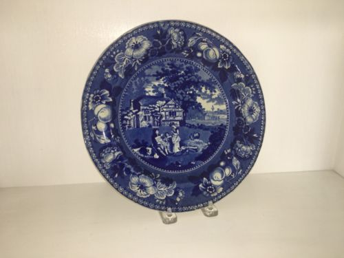 Historical Staffordshire Blue Plate Vale House Transfer circa 1825 by Henshall